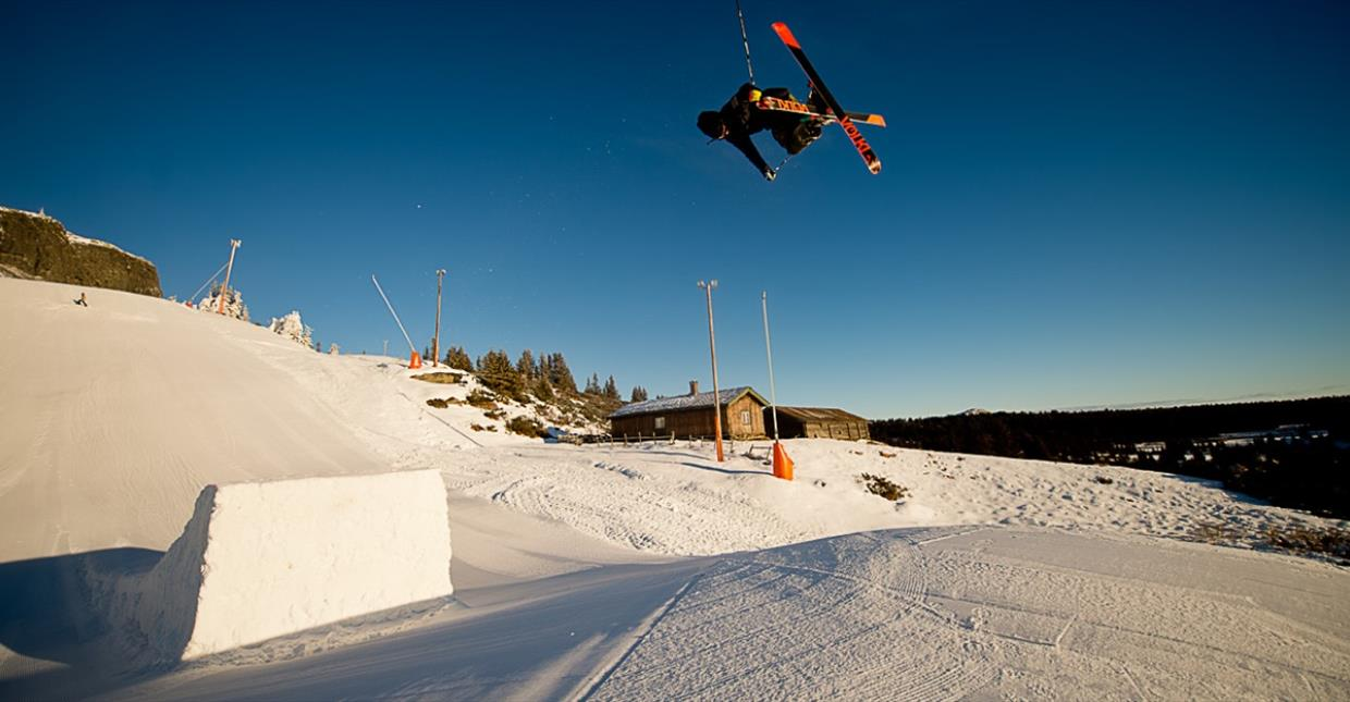 Freeskier going big on a big jump