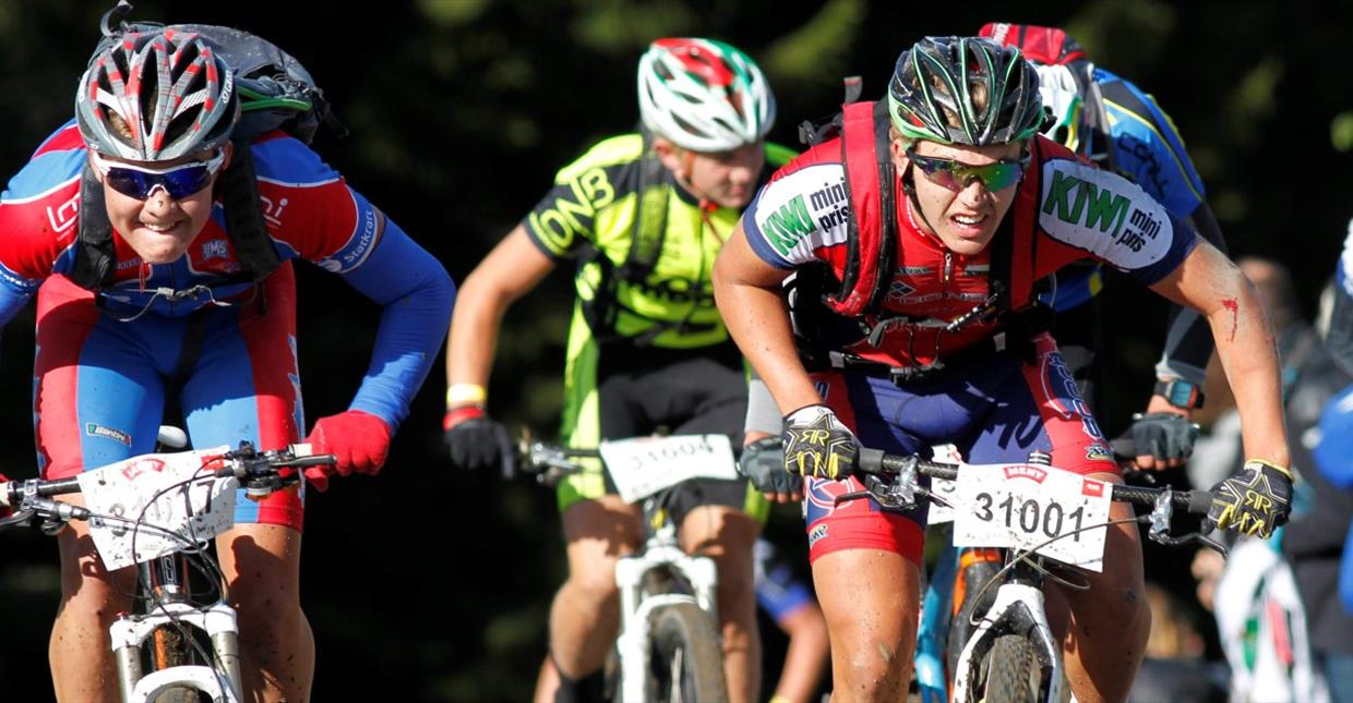 Young Mountain bikers racing at Ungdomsbirken