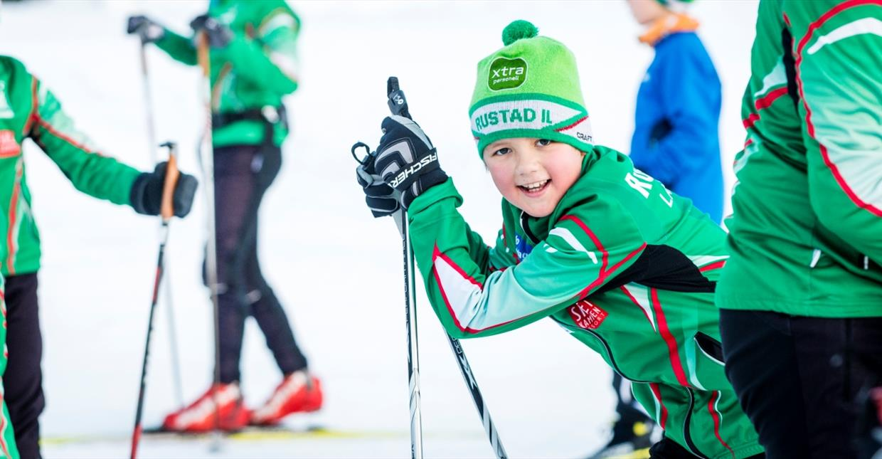 Young xc skiers at training camp