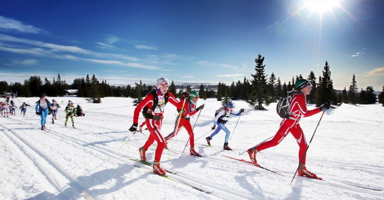 Youngsters racing the xc skiing race Ungdomsbirken