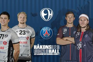 Elverum Håndball spiller mot Paris Saint - Germain i Håkons Hall 28. september 2019
